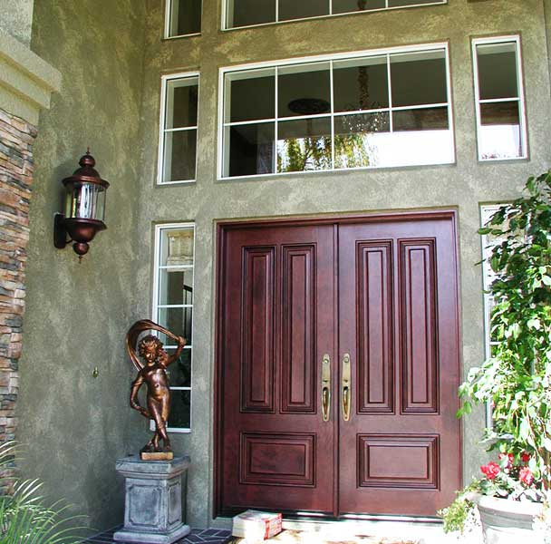 Faux Exterior Walls & Stained Entry Doors